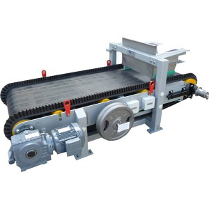 An open construction weight belt feeder with inlet to discharge of 1450 mm utilising a wave wall belt to contain material spillage. This weigh feeder uses a solid calibration weight instead of calibration chains.