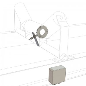 A belt scale idler frame showing the position of the magnetic pick up belt speed sensor on the idler roll and the junction box location
