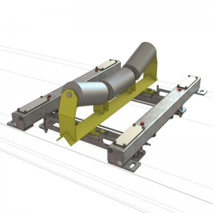 A Single idler 4 Load cell, light duty, fully floating process conveyor belt scale with a weigh idler attached