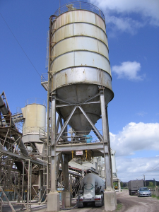 A silo or storage bin showing typical structure